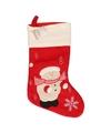 Kerstsok rood met sneeuwpop 45 cm