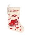 Kerstsok wit met sneeuwpop 45 cm