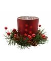 Kerststukje rode theelichthouder 8 cm