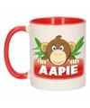 Kinder apen mok beker aapie rood wit 300 ml