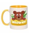 Kinder beren mok beker browny geel wit 300 ml