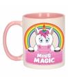 Kinder eenhoorn mok beker miss magic roze wit 300 ml