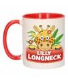 Kinder giraffen mok beker lilly longneck rood wit 300 ml