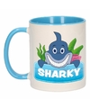 Kinder haaien mok beker sharky blauw wit 300 ml