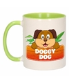 Kinder honden mok beker doggy dog groen wit 300 ml