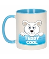 Kinder ijsberen mok beker teddy cool blauw wit 300 ml