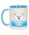 Kinder ijsberen mok beker teddy cool blauw wit 300 ml