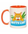 Kinder katten mok beker kitty cat oranje wit 300 ml