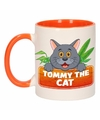 Kinder katten mok beker tommy the cat oranje wit 300 ml