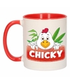 Kinder kippen mok beker chicky rood wit 300 ml