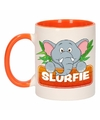 Kinder olifanten mok beker slurfie oranje wit 300 ml