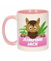 Kinder paarden mok beker jumping jack roze wit 300 ml