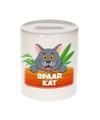 Kinder spaarpot met grijze katten print 9 cm