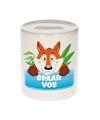 Kinder spaarpot met vossen print 9 cm
