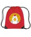 Kippen rugtas gymtas rood voor kinderen