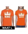 Koningsdag koppel king queen t shirt oranje maat l