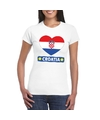 Kroatie hart vlag t shirt wit dames