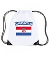 Kroatie nylon rugzak wit met kroatische vlag