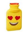 Kruik met gele hoes hartjesogen smiley 1 liter