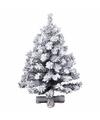 Kunst kerstboompje groen sneeuw 90 cm op kruis