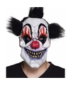 Latex killer clown masker met zwart haar