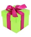 Limegroen cadeaudoosje 10 cm met roze strik