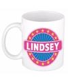 Lindsey naam koffie mok beker 300 ml