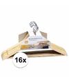 Luxe kledinghanger hout 16 stuks 44 cm