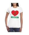 Marokko hart vlag t shirt wit dames