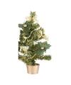 Mini kerstboompje met gouden versiering 45 cm