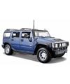 Modelauto hummer h2 blauw 1 24