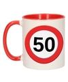 Mok beker 50 jaar verkeersbord