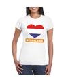 Nederland hart vlag t shirt wit dames