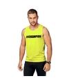 Neon geel kampioen sport shirt singlet champion heren