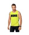 Neon geel sport shirt singlet hunk heren