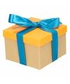 Neon oranje cadeaudoosje 13 cm met blauwe strik