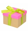 Neon roze cadeaudoosje 18 cm met lichtgroene strik
