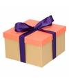 Neon zalmroze cadeaudoosje 21 cm met paarse strik