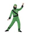 Ninja kostuum groen zwart voor kinderen