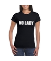 No lady tekst t shirt zwart dames