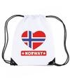 Noorwegen hart vlag nylon rugzak wit