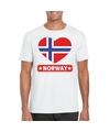 Noorwegen hart vlag t shirt wit heren