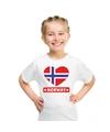 Noorwegen hart vlag t shirt wit jongens en meisjes