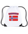 Noorwegen nylon rugzak wit met noorweegse vlag