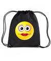 Nylon emoticon smile diva rugzak zwart met rijgkoord