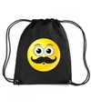 Nylon emoticon smile snor rugzak zwart met rijgkoord