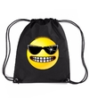 Nylon emoticon smile stoer rugzak zwart met rijgkoord