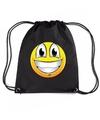 Nylon emoticon smile super vrolijk rugzak zwart met rijgkoord