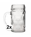Oktoberfest 2x voordelige bierpullen bierglazen 1 liter