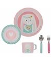 Ontbijtset konijn roze 5 delig